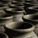 gray round clay pot
